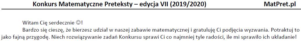 Fragment tekstu wstępnego I etapu VII edycji konkursu